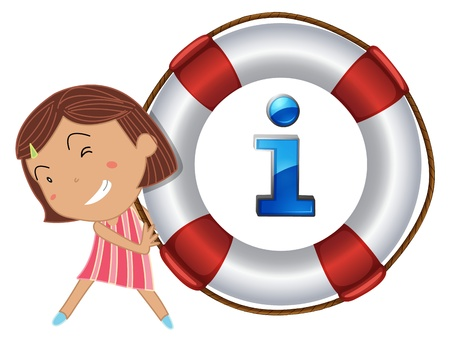 life saver: Illustration of girl and information sign