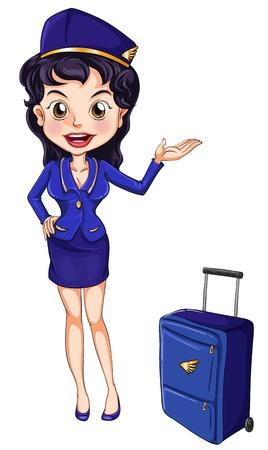 Ilustraci�n de una azafata de vuelo en blanco