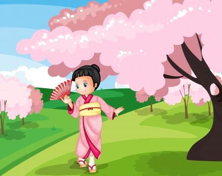 Illustration of a Japanese garden scene Stock Vector - 14009481