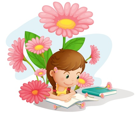 reading and writing: Illustration of a girl doing homework