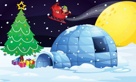 illustration of a boy flying in sleigh in christmas night Vector