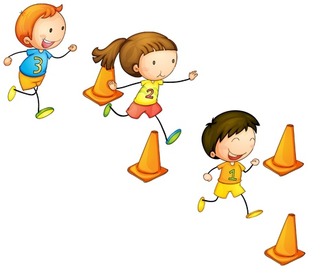 sport cartoon: illustration of a running kids on a white background