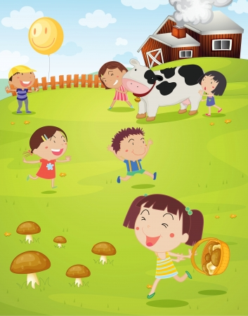 lady cow: illustration of a kids playing green lawn Illustration