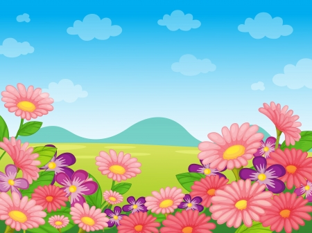 flora fauna: illustration of nature scene with flora and fauna
