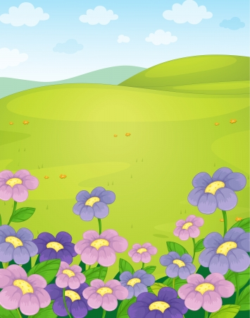 outing: illustration of nature scene on a white background Illustration