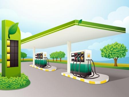 gasoline station: illustrazione di una pompa di benzina su una strada
