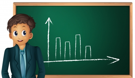barchart: illustration of a man showing graph on a white background