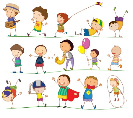 illustrazione di alcuni ragazzi che svolgono varie attività Vettoriali