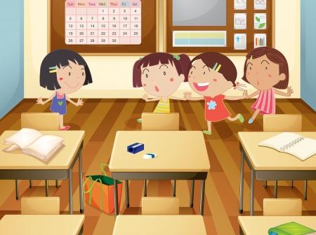 school agenda: ilustración de una niñas estudiando en el aula
