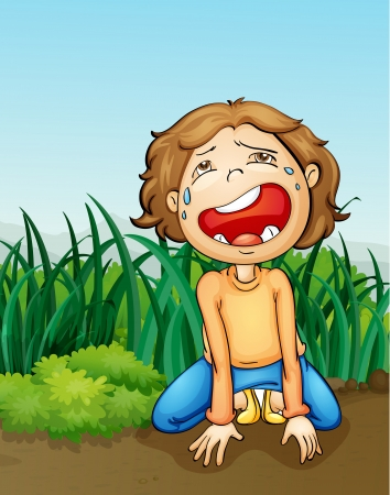 weeping: illustration of a outdoor boy crying alone