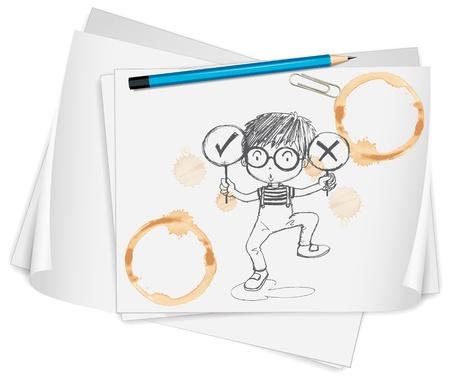 illustratie van tekenpapier en potloden op een witte achtergrond Stock Illustratie
