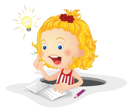 illustration of a girl reading book on a white background Vector