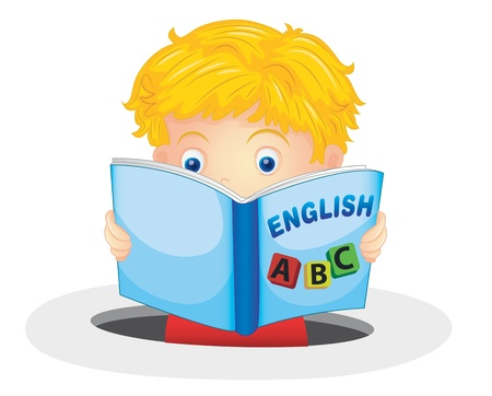 letter alphabet pictures: illustration of a boy reading book on a white background