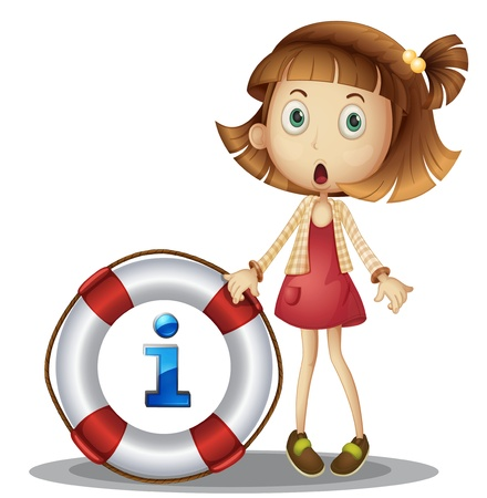 and symbol: illustration of a girl with information symbol