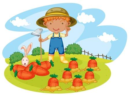 joven agricultor: ilustraci�n de un ni�o que trabaja en las granjas