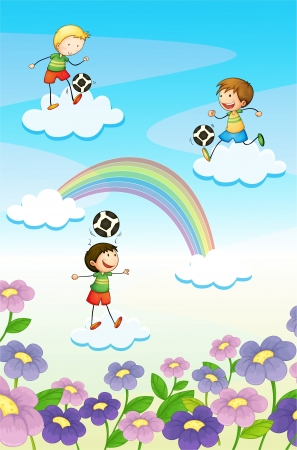 kids football: illustration of a playing kids on clouds