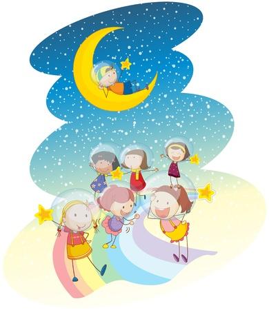 star and crescent: ilustraci�n de un ni�os jugando en el arco iris