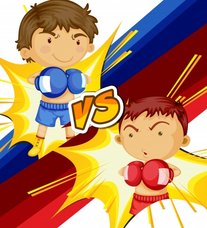 color match: illustration of a boys playing boxing game