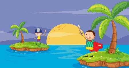 island cartoon: illustration of a boys on a white background