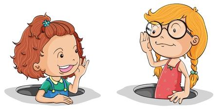 illustratie van een meisjes te praten op een witte achtergrond Vector Illustratie