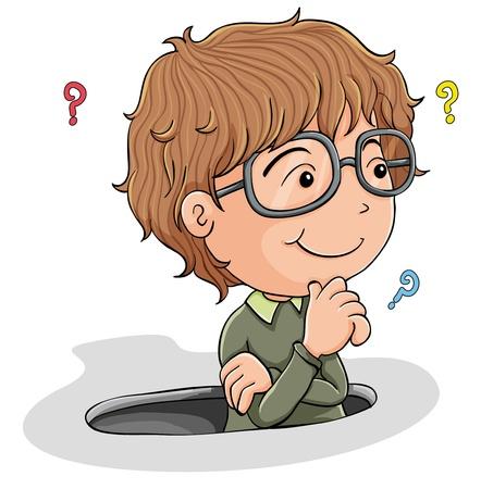 denkender mensch: Darstellung eines kleinen Jungen denken, auf wei�em Hintergrund Illustration