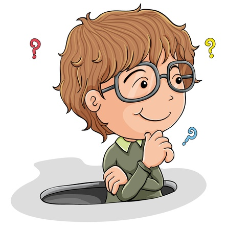 imagine: illustration of a young boy thinking on a white background Illustration
