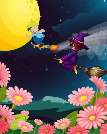 thaumaturge: illustration of a boy and witch flying in the night Illustration