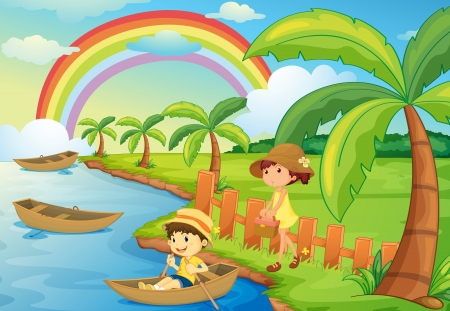 kids garden: illustration of a boy and girl are boating