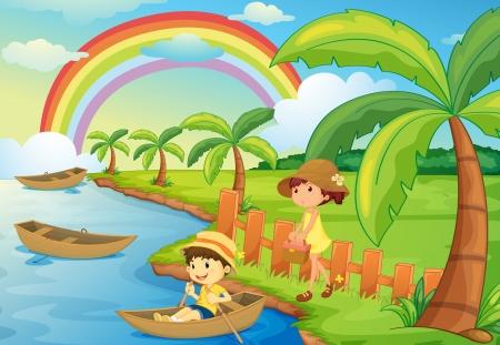niños jugando caricatura: ilustración de un niño y una niña está en un bote