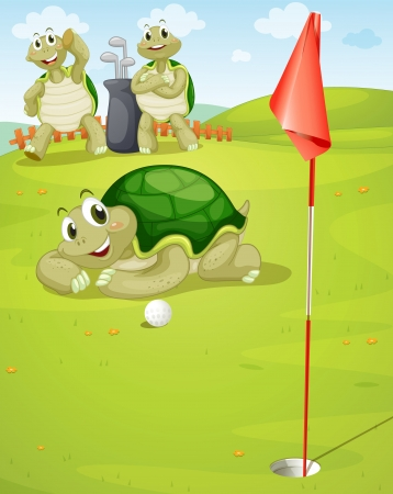 illustration of tortoise playing golf on golf ground Vector