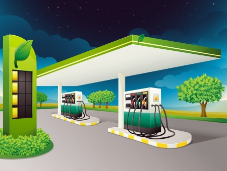 filling station: illustration of a petrol pump on a road
