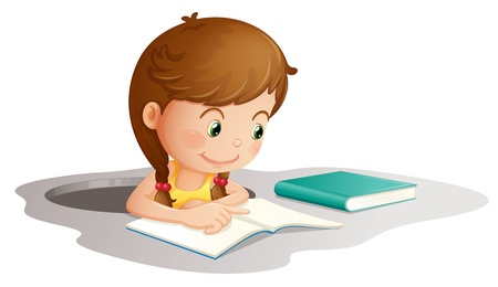 illustration of a girl reading book on a white background Stock Vector - 14050857