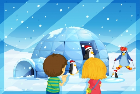 illustration of a girl and boy with penguines in snow fall Vector