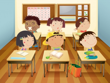 illustration of a kids studying in classroom Stock Vector - 14055924
