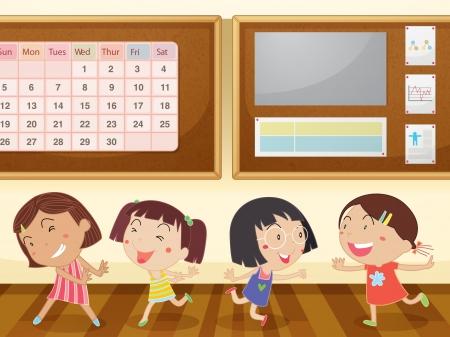 calendario escolar: Ilustración de un feliz disfrutando de las niñas en el aula