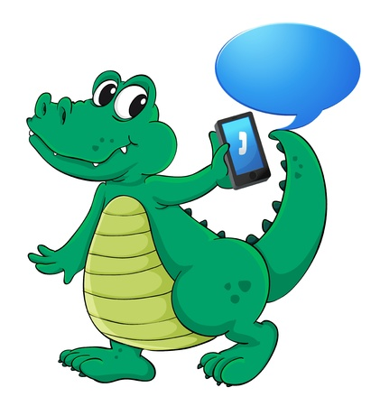 telephones: illustration of a crocodile with cell phone on a white