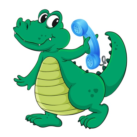 illustration of a crocodile with cell phone on a white Vector
