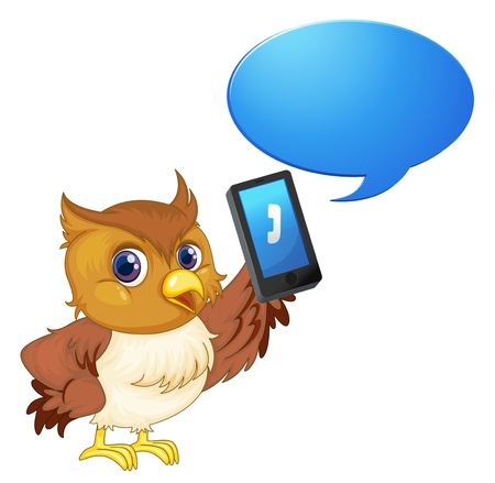 illustration of a bird with cell phone on a white Vector