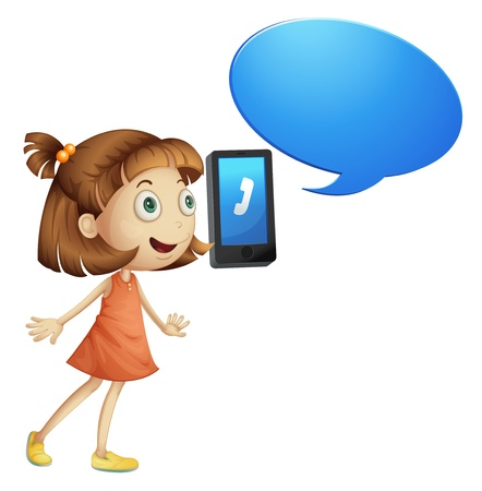 phone us: illustration of a girl with cell phone on a white