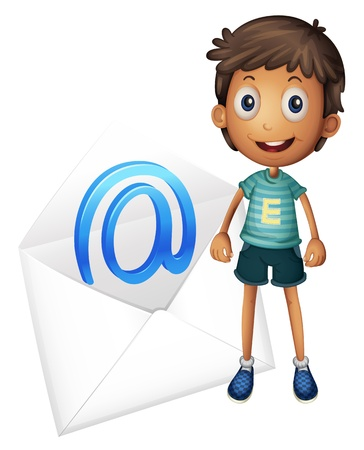 envelop: illustration of a boy with mail envelop on a white Illustration