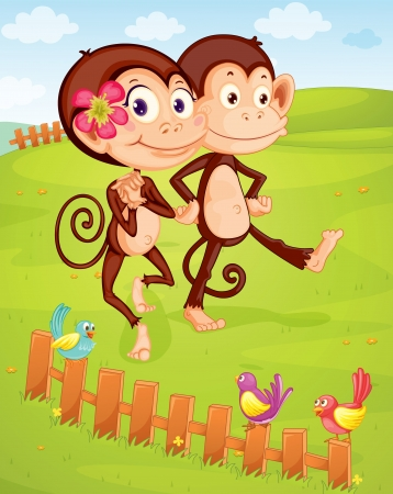 love and friendship: illustration of two monkeys walking on green lawn
