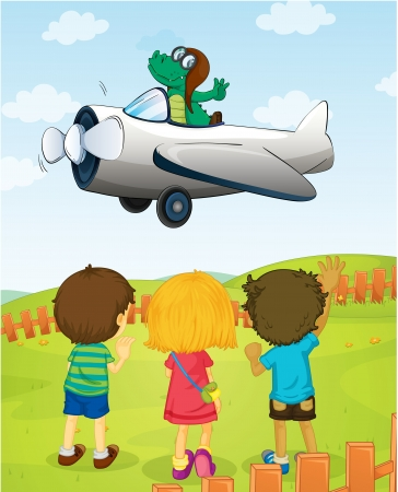 illustration of kids watching crocodile flying plane Vector