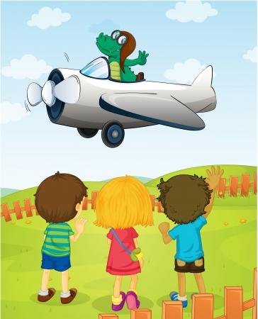 illustration of kids watching crocodile flying plane Vector