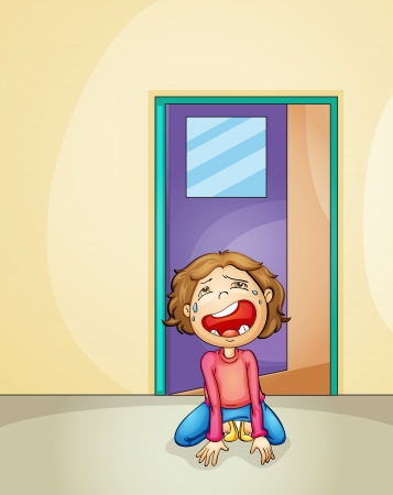 crying boy: illustration of a boy crying alone at home