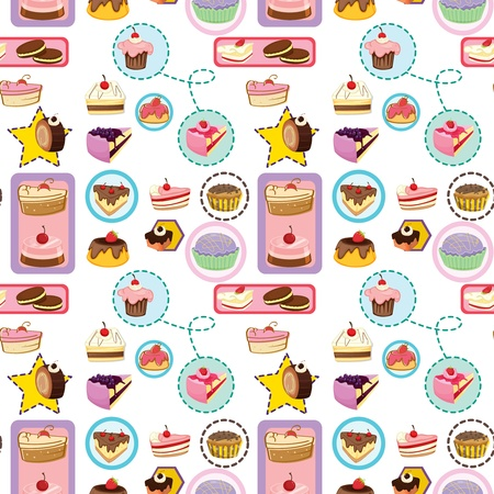 illustration of various cakes on a white background - seamless Vector