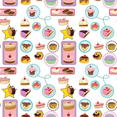 porcion de torta: ilustraci�n de varias tortas sobre un fondo blanco - sin fisuras
