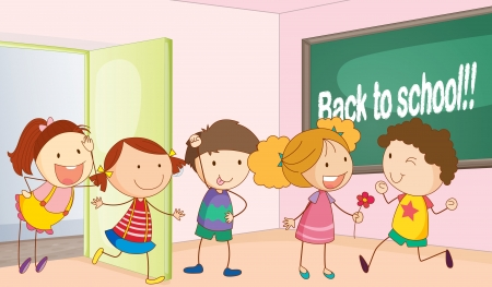 english girl: illustration of a kids entering in classroom
