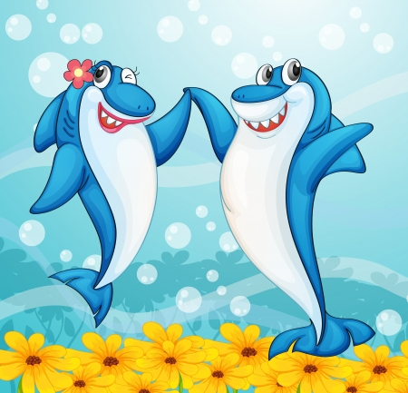 sharks: illustration of two dancing whale fishes in water