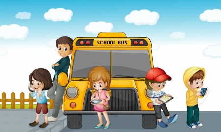 illustration of kids standing outside school bus Vector
