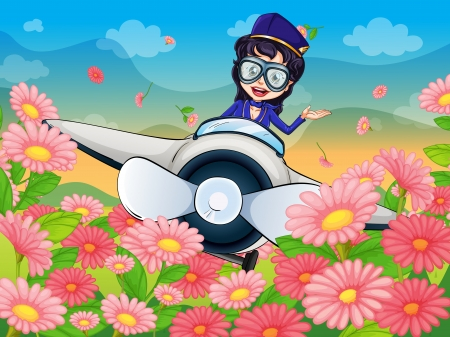 illustration of a girl flying  air plane